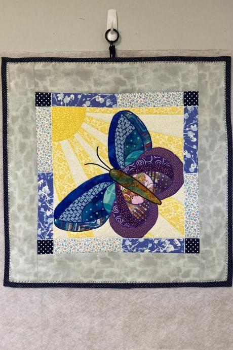 Butterfly Wall Hanging Art Quilt Cotton Fabric