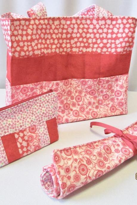 3 Piece Knitting/ Crochet Project Bag with Needle Holder & Notions Bag