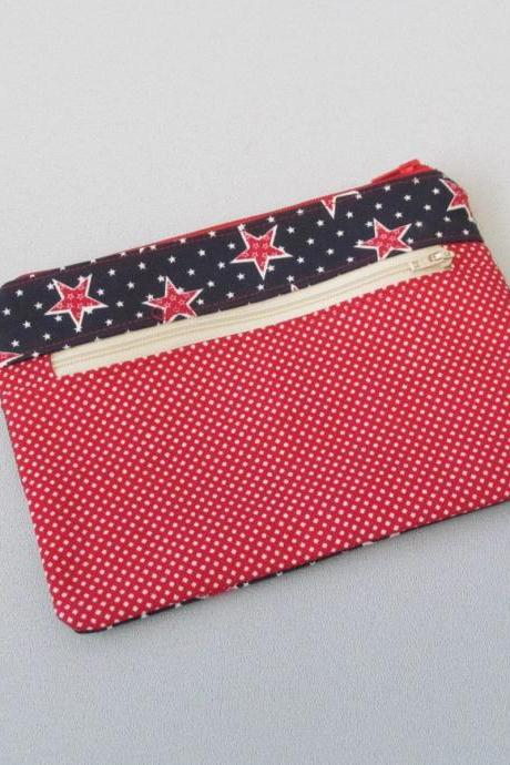 Double Zipper Bag/Pouch Makeup Jewelry Crafts Notions