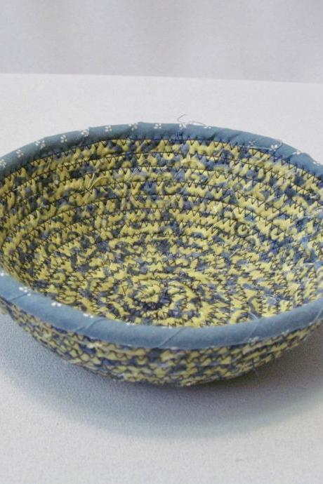 Round Cotton Fabric Coil Cord Bowl Yellow Blue