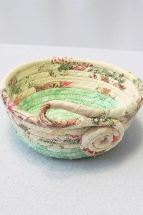 Round Cotton Fabric Coil Bowl Basket Yellow and Green