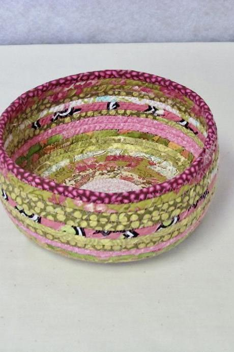 Pink and Green Cotton Fabric Coil Bowl Basket
