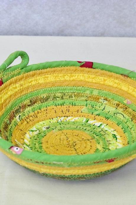 Yellow and Green Cotton Fabric Coil Bowl Basket