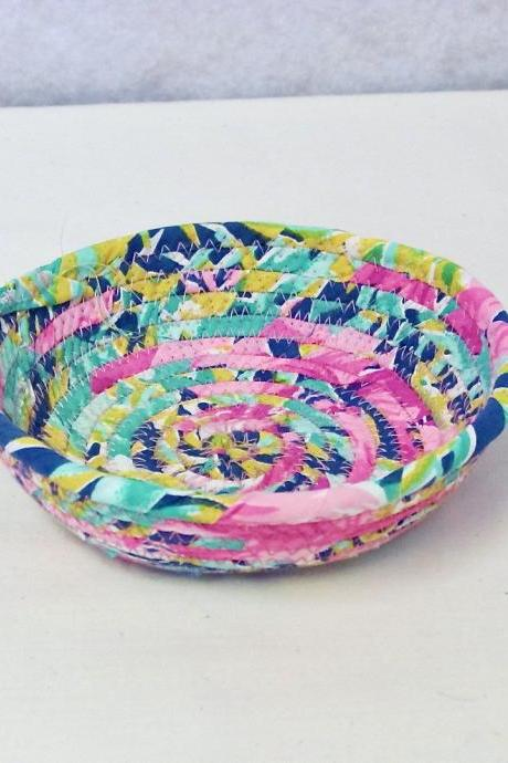 Pink Green Blue Cotton Fabric Coil Bowl Basket