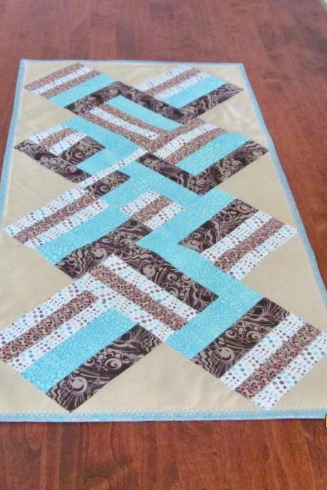 Brown and Aqua Cotton Quilted Table Runner
