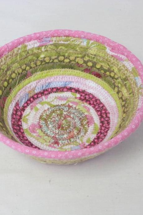 Round Cotton Fabric Coil Bowl Basket Pink and Green