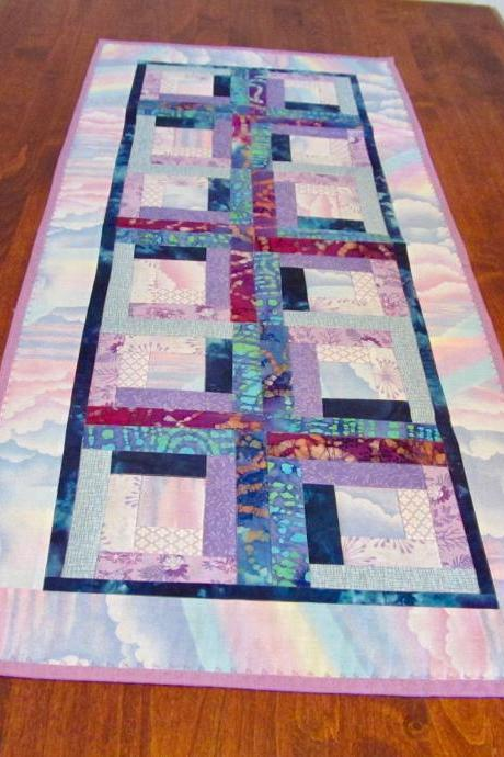 Blue Pink Purple Quilted Table Runner