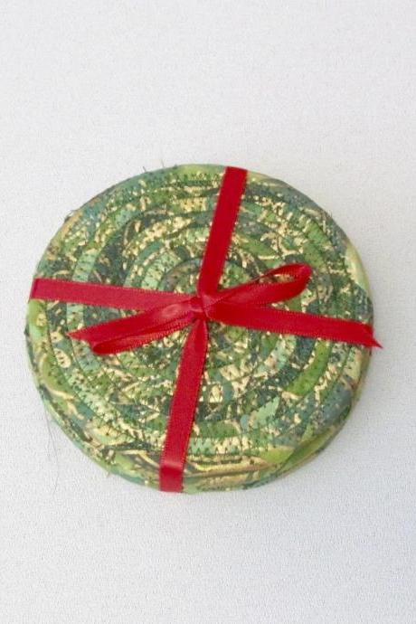 Green and Gold Coaster Set of Four Cotton Fabric Christmas