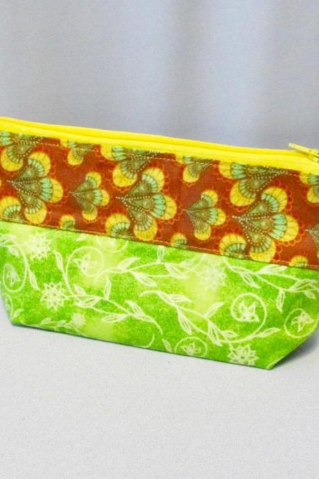 Cotton Fabric Zippered Bag Yellow Green Brown