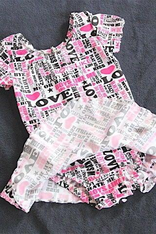 Girls Pink Black & White Skating Dress, Size M