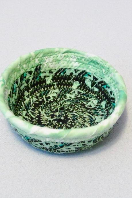Green and Black Cotton Fabric Coil Bowl