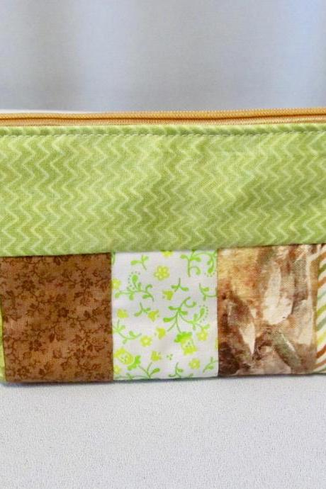 Brown and Green Zippered Pouch Bag Notions or Makeup