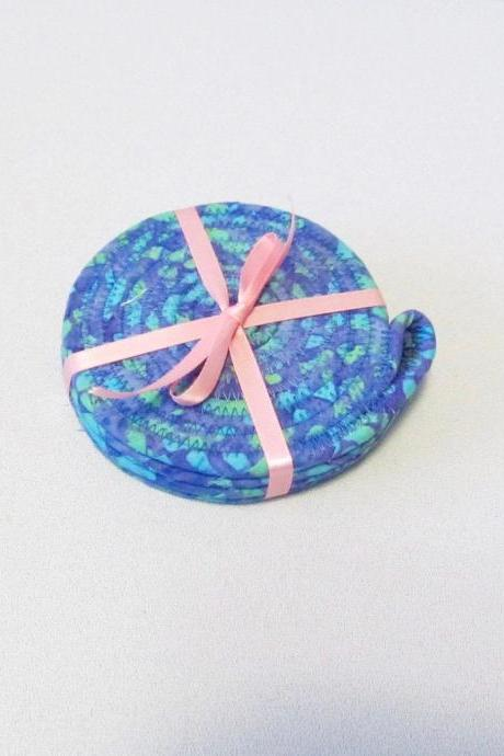 Blue Purple and Green Round Coaster Set of Four Cotton Fabric Coil