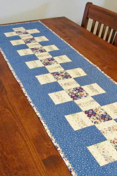 Blue and Cream Quilted Table Runner