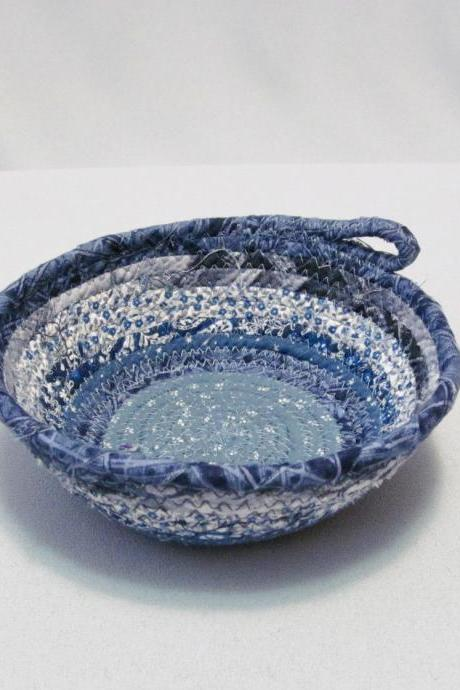 Blue and White Cotton Fabric Round Coil Bowl