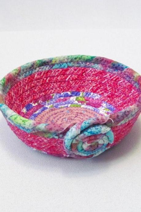 Cotton Fabric Coil Cord Bowl Basket Pinks and Purples