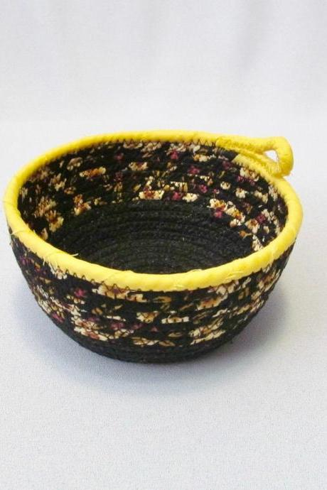 Black and Gold Cotton Fabric Coil Cord Bowl