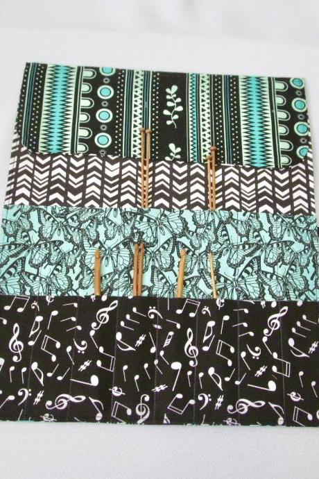 Knitting Needle/Crochet Hook Organizer Black and Green Cotton Fabric Roll-Up