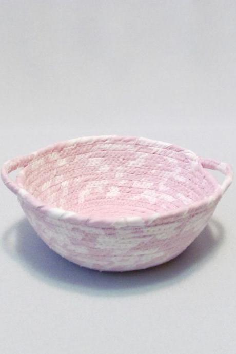 Light Pink Cotton Fabric Coil Bowl