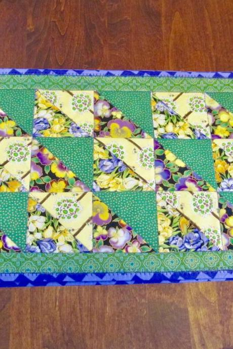 Placemat Set of Four Quilted Cotton Fabric Green, Yellow and Purple