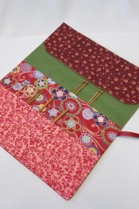 Cotton Fabric Knit/Crochet Needle Holder in Reds and Green