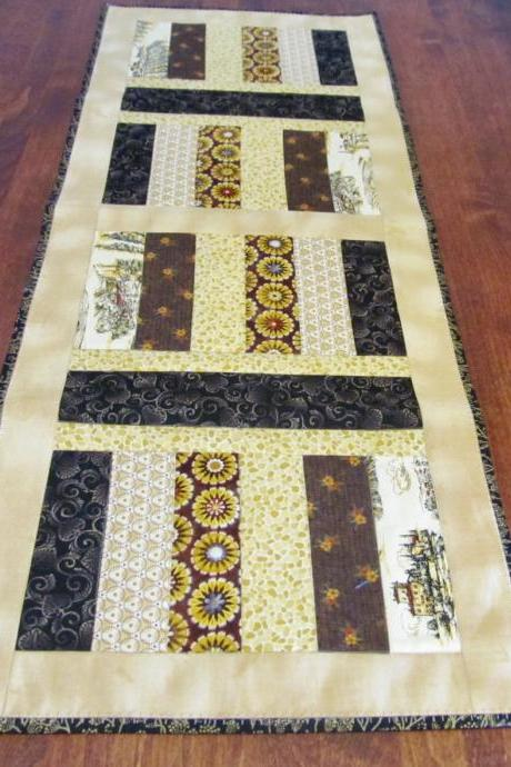 Table Runner in Gold and Brown Cotton Quilted