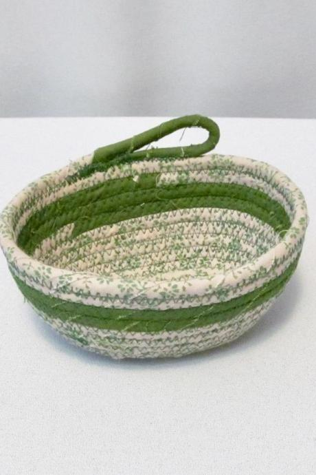 Cotton Fabric Green Coil Oval Bowl