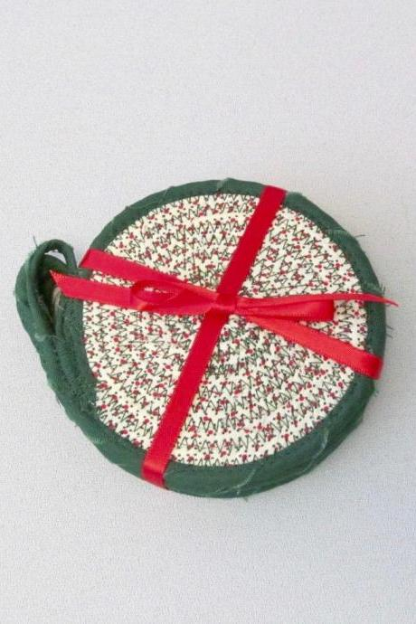 Set of Four Cotton Fabric Coasters Red and Green Christmas
