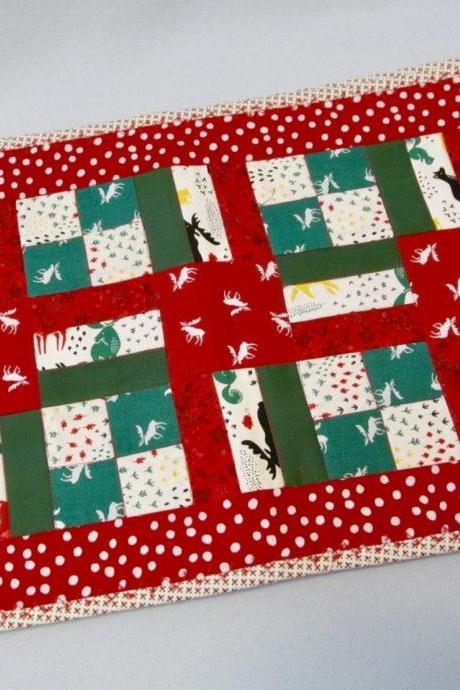 Set of Four Christmas Theme Placemats - Red/Green Cotton Quilted