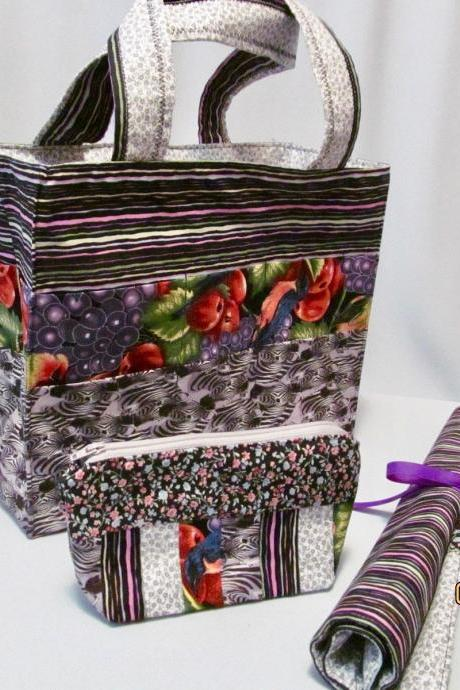 Knit/Crochet Project Bag with Needle Organizer and Notions Bag