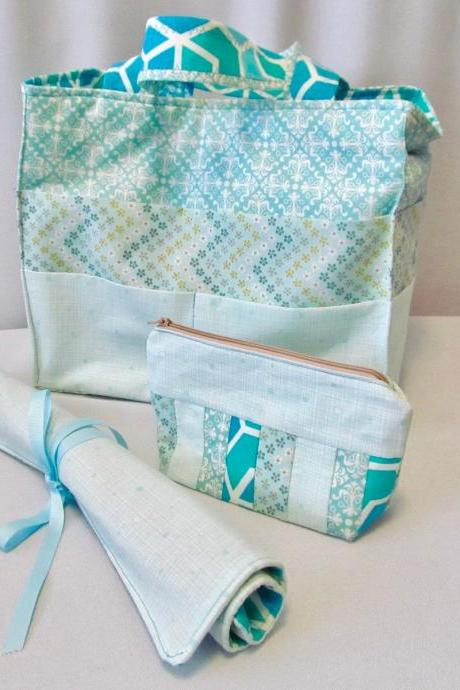 Knittng/Crochet Project Bag Set with Needle/Hook Organizer and Notions Bag