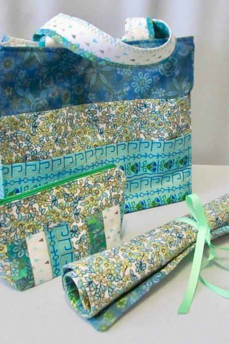 Aqua and Green Cotton Fabric Knit/Crochet Project Bag with Needle Organizer and Notions Bag