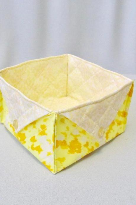 Yellow Square Cotton Fabric Box Quilted Storage