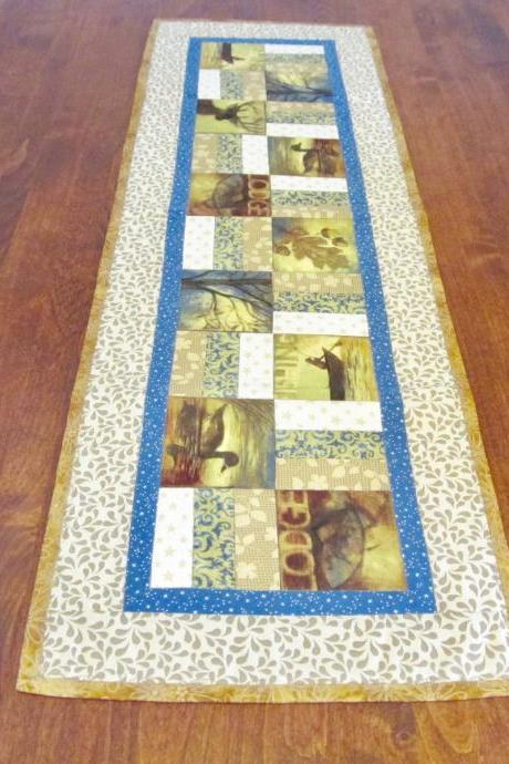 Cotton Quilted Table Runner Fall Colors