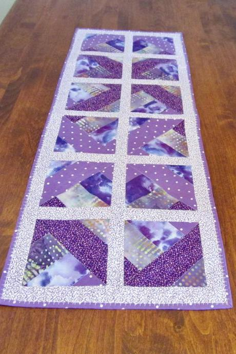 Purple Lavender Table Runner Topper Quilted Cotton Fabric